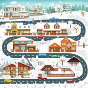 Life in the suburbs - winter Piirros