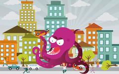 Alien is attacking the city Stock Illustration
