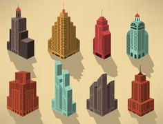 Skyscrapers in perspective (blue) Stock Illustration