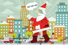 giant santa claus is attacking the city - stock illustration