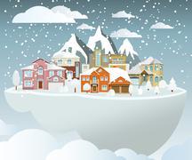 flying island (village in winter) - stock illustration