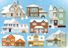 snow covered city houses (christmas) - stock illustration