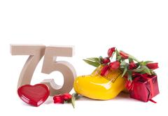 Stock Photo of number of age in a colorful studio setting and dutch looking attributes like