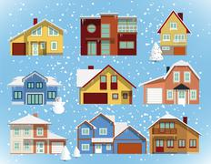 snow covered city houses - stock illustration