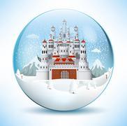 fairytale castle in the glass sphere - stock illustration