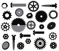 Stock Illustration of industrial materials (circular saw, tooth wheels, screws)