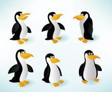 Six penguins Stock Illustration
