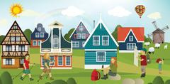 Tourists in the dutch countryside Stock Illustration