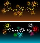 city at night with fireworks background vector set - stock illustration