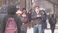Stock Video Footage of Busy streets people traffic congestion in downtown Toronto on winter day.