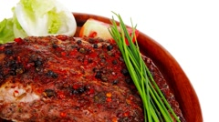 Meat savory on wooden plate: roast shoulder Stock Footage
