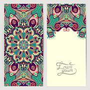 decorative label card for vintage design, ethnic pattern - stock illustration