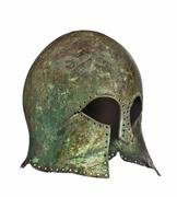 medieval grecian soliders helmet with clip path - stock photo