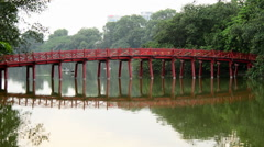 Scenic The Huc Bridge on Hoan Kiem Lake - Hanoi Vietnam Stock Footage
