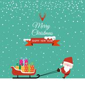 abstract christmas with santa claus and gift on sled - stock illustration