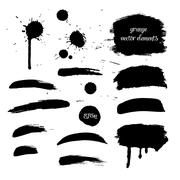 Collection black grunge watercolor element - stock illustration