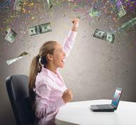 businesswoman exults for her money - stock illustration