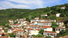 Eye-catching residential architecture is typical of Sirince Village Stock Footage
