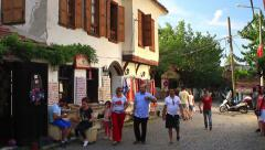 Main street of Sirince with a wine tasting house Stock Footage