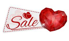 sale sticker with gem heart - stock illustration
