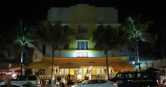 4K Ultra HD video of the world famous Leslie Hotel at night Stock Footage