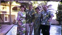 HAPPY Couples Hawaii Tourist Vacation Beach Vintage Film Home Movie Retro 8159 Stock Footage