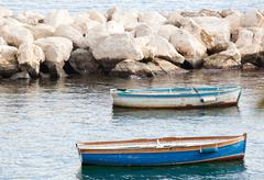 fishing boats in the gulf of naples - stock photo
