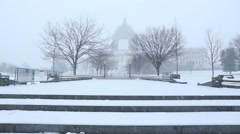 US Capitol Steps in the Snow from the Mall Stock Footage