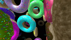 Flying donuts generated 3D video Stock Footage