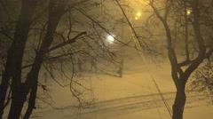 Night street winter storm, background, 4k Stock Footage