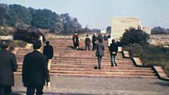 Buchenwald 1972: people visiting the memorial of the concentration camp Stock Footage