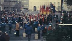 DDR 1972: FDJ event in a city square Stock Footage