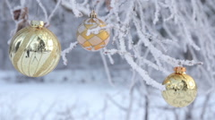 Glass Christmas balls on spruce Stock Footage