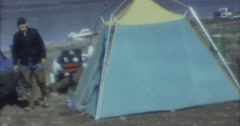 Wyoming Lake Camping 16mm 60s - stock footage