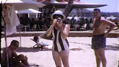 Woman Takes Picture Hawaii Tourist Vacation Beach Vintage Film Home Movie 8160 Stock Footage