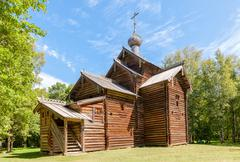 old wooden orthodox church in the museum of wooden architecture vitoslavlitsy - stock photo