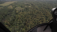 View from inside the flying helicopter Stock Footage