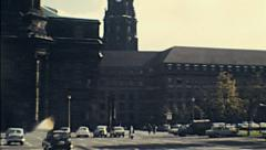 Dresden 1972: cars parked under Kreuzkirche Stock Footage
