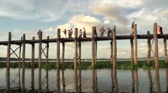 Amarapura, sunset at the U-bein bridge Stock Footage