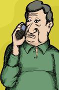 mature man on phone - stock illustration