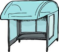 bus shelter sketch - stock illustration