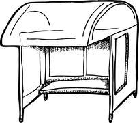 bus shelter outline - stock illustration