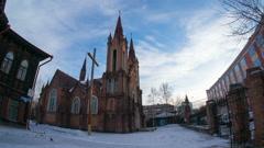 The catholic cathedral in krasnoyarsk, hyperlapse Stock Footage