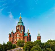 Stock Photo of Uspenski Cathedral, Helsinki At Summer Sunny Day. Red Church In