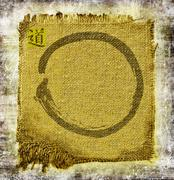 Zen circle on frayed jute. With ideogram Dao, the method. Stock Illustration