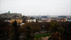 Panorama of Budapest with the Buda castle and morning traffic. Stock Footage