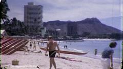 People Beach Honolulu Hawaii Tourist Vacation Vintage Film Home Movie Retro 8161 Stock Footage
