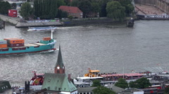 Hamburg harbour aerial Stock Footage