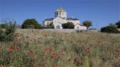ST VLADIMIR CATHEDRAL POPPIES CHERSONES CRIMEA Stock Footage