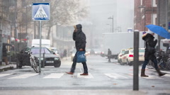 Crossing with people and snow Stock Footage